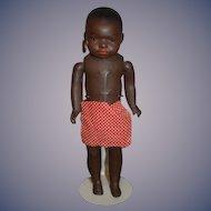Antique Doll Black Island Doll Glass Eyes Hoop Earrings Cabinet Size