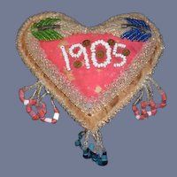 Wonderful Antique Souvenir Beaded Pillow 1905 Heart Shaped Doll Size
