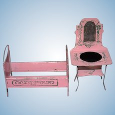 Antique Doll Miniature Pink Tin Vanity and Bed Dollhouse