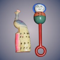 Old Celluloid Rattle Rattles Peacock Bird and Funny Boy Two Rattles for Child or Doll