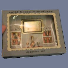 Old Miniature Decanter Set Doll House Original box Tray Bucket Cups Bowl
