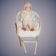 Antique Doll All Bisque Jointed Pink Tint Boy Dressed in Wicker Carriage Miniature Dollhouse