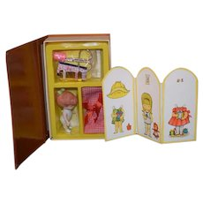 Vintage Joan Walsh Anglund Bisque Doll in Orig. Box W/ Sewing Kit W/ Doll Screen Paper Doll Set