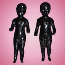 Antique Doll Two Black All Bisque Frozen Charlotte Dolls Miniature Pair Dollhouse