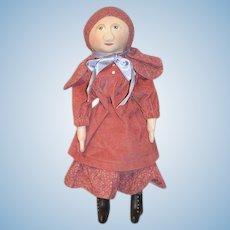 Artist Doll R.F. HAAS Oil Cloth Doll Sweet Signed 1986