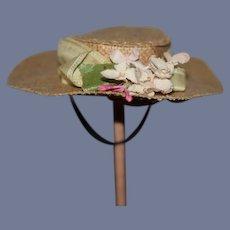 Old Straw Doll Hat Bonnet W/ Flowers For Fashion Doll Wide Brim