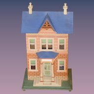 Wonderful Artist Dollhouse Miniature Wood Glass Windows Opens Front W/ Porch
