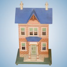 Wonderful Artist Dollhouse Miniature Wood Glass Windows Opens Front W/ Porch