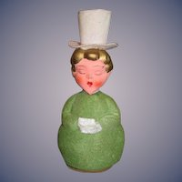 Old Doll Christmas Caroler Candy Container  Sweet German Papier Mache