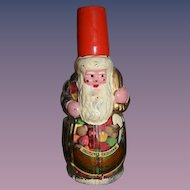 Wonderful Old Glass Santa Candy Container W/ Old German Label