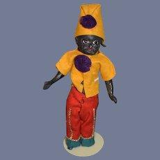Antique Doll Black Papier Mache Glass Eyes Dressed as Jester