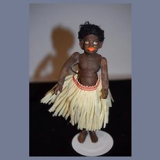 Old Doll Black Papier Mache Jointed Island Doll Miniature Cabinet Size SWEET Character