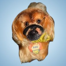 Wonderful Vintage PEKY Pekingese Steiff Dog Miniature For Doll W/ Tags & Button