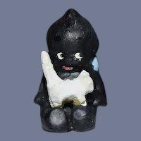 Miniature Doll Black Kewpie Artist Doll Kewpie holding A Cat Dollhouse