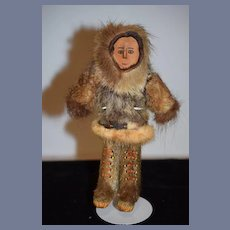 Old Doll Eskimo Wood Carved Painted Features and Original Fur Outfit