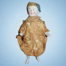 Antique Doll Miniature RARE All Bisque Jointed Swivel Neck Unusual French Neck Original Factory Dress Dollhouse
