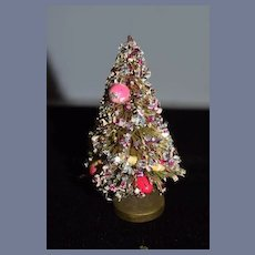 Old Doll Miniature Dollhouse Christmas Tree Decorated Sweet!