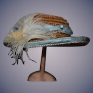 Vintage Artist Doll Straw Hat Bonnet Fancy Feathers Bows
