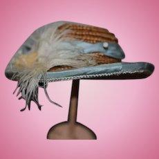 Vintage Artist Doll Straw Hat Bonnet Fancy Feathers Bows