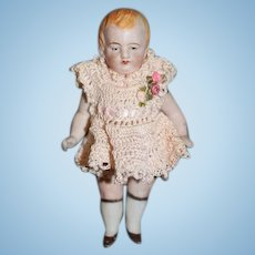 Antique Doll All Bisque Jointed Wonderful Dressed Dollhouse
