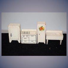 Old Doll Wood Dollhouse Miniature Kitchen Furniture