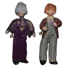 Sweet Doll Set Miniature Cloth Dolls W/ Metal Feet Dollhouse