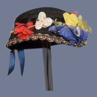 Wonderful Old Doll Hat Sweet Flowers and Ribbon Charming Bonnet