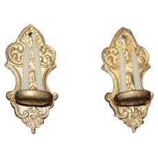 Wonderful Old Miniature Ornate Sconce Pair Candles Dollhouse