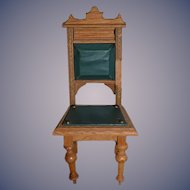 Ornate Doll Wood Chair Upholstered Miniature Dollhouse