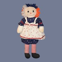 Unusual Vintage Raggedy Ann Doll Patriotic ANN ! Cloth Doll