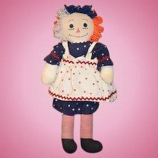 Unusual Vintage Raggedy Ann Doll Patriotic ANN ! Cloth Doll