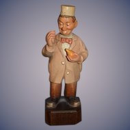 Old Doll Anri Wood Carved Doctor Figure