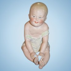Antique Doll Bisque Figure LARGE Heubach Sitting Baby Figurine Piano Baby: