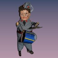 Old Doll Tin Drummer Boy Wind Up Mechanical Miniature Sweet Soldier