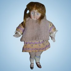 Antique Doll All Bisque Jointed Miniature Dollhouse Swivel Neck Double Strap Shoes