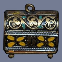 Old Doll Miniature Faux Trunk Enamel Metal Charm Dollhouse