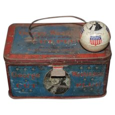 Old George Washington Cut Plug Tobacco Tin W/ Old Tin George Washington Ball