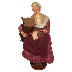 Wonderful Vintage Doll Terracotta Figure Lady Sewing and Holding Wood Crib Signed Orsini Terra-Cotta