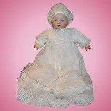 "Antique Doll LARGE Dream Baby Bisque W/ Wonderful Christening Gown Original Body Crier 21"""