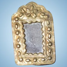Wonderful Old Ornate Brass Metal Miniature Doll Frame w/ Mirror Dollhouse