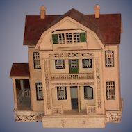 Antique Doll Miniature Dollhouse Red Roof Gottschalk Wonderful Front Porch Staircase Side Porch