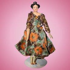 Antique Doll Milliner's Model Doll Miniature Dollhouse Fancy Hair Style Papier Mache & Wood