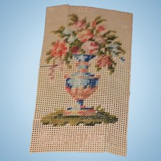 Old Doll Miniature Petit Point Needle Point Bouquet Flowers Picture Hand Done Dollhouse