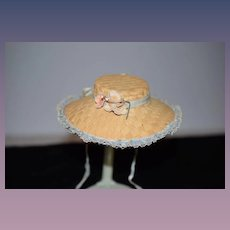 Vintage Doll Straw Hat Bonnet W/ Flowers Wide Brim