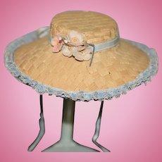 Vintage Doll Straw Hat Bonnet W/ Flowers Wide Brim