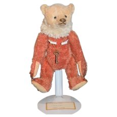 Artist Teddy A  Forget Me Not Bear Jointed Two Tone W/ Flower on Paw