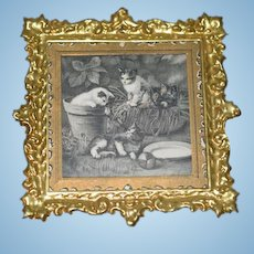 Wonderful Old Gold Gilt Frame and Print of Kittens Cats For Dollhouse Doll