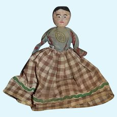 Old Doll Wood Miniature Carved Painted Features Folk Art