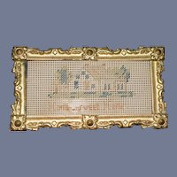 Old Doll Miniature Gilt Frame w/ Needle Point Petit Point W/ Glass