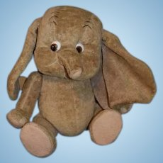 Vintage French Dumbo O'lis Cloth Elephant Doll Jointed Glass Eyes